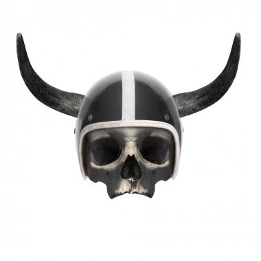 Retro motorcycle helmet with bull's long horns
