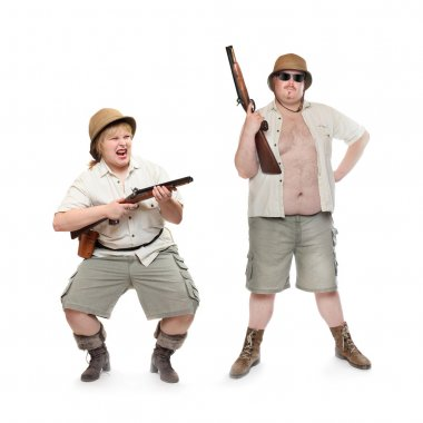 Couple of safari hunters or home guard with weapons