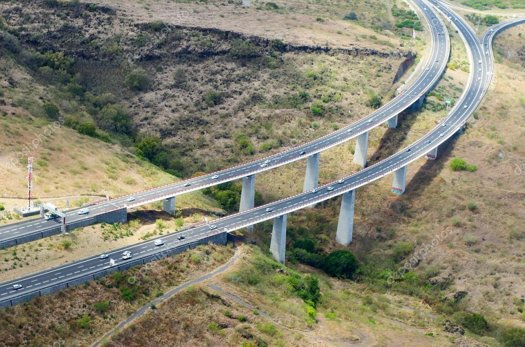 Aerial view to new highway bridge near Saint Paul
