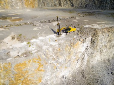 Aerial view of a drilling machine in the mine.