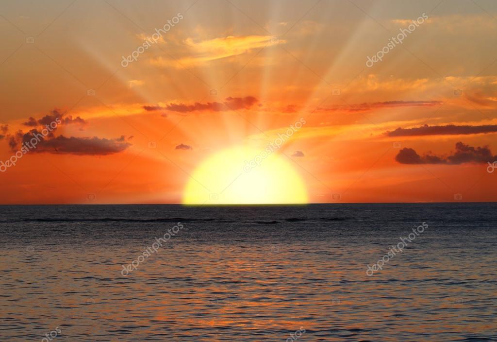 Beautiful sunset over Indian Ocean