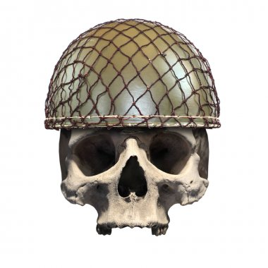 Skull with retro military helmet.
