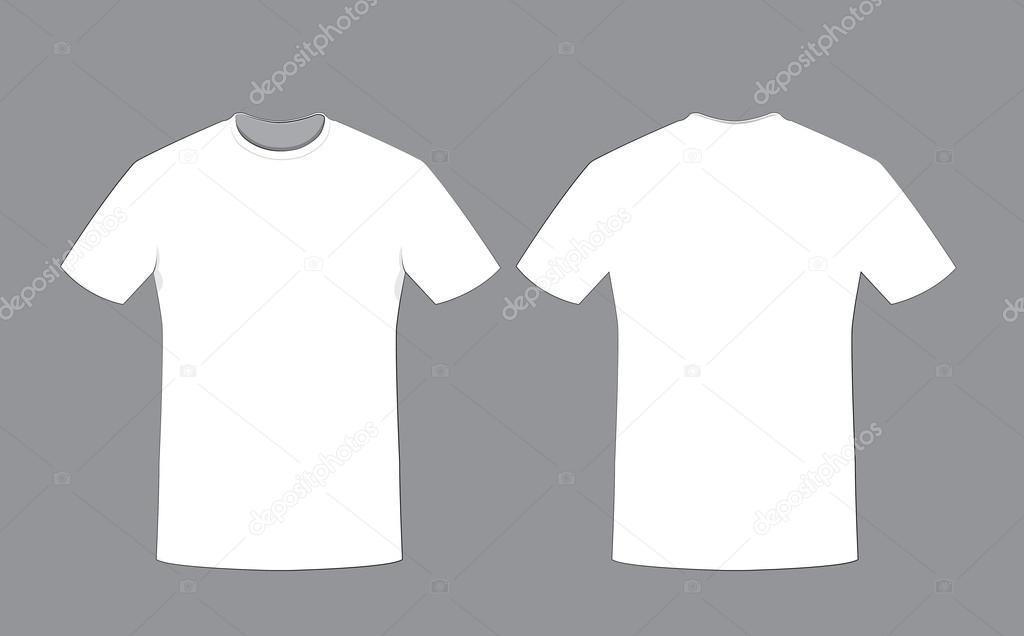 White Man T Shirt Template Front And Back Sides Stock Vector