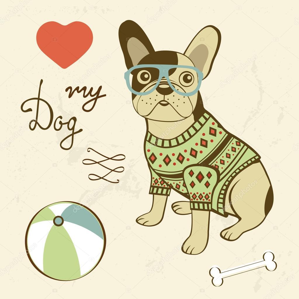 Liebe meinen Hund. Beispiel für ein Hipster französische Bulldogge ...