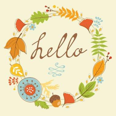 Beautiful  hello card with autumn wreath