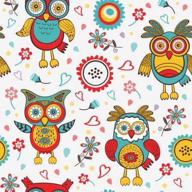Cute colorful pattern with owls and flowers