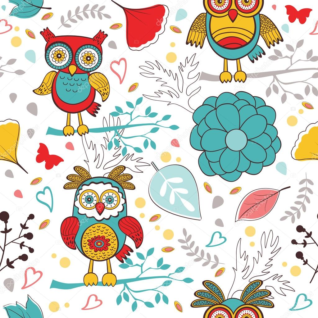 Cute colorful pattern with  funny owls and flowers