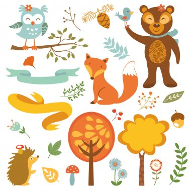 Cute forest animals colorful collection. vector illustration stock vector
