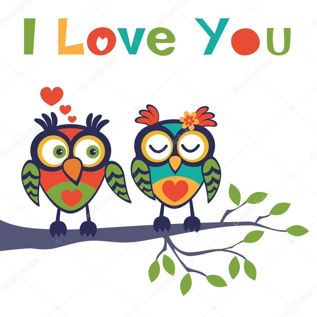 Imágenes Buhos Animados Enamorados Buhos De Amor Vector De