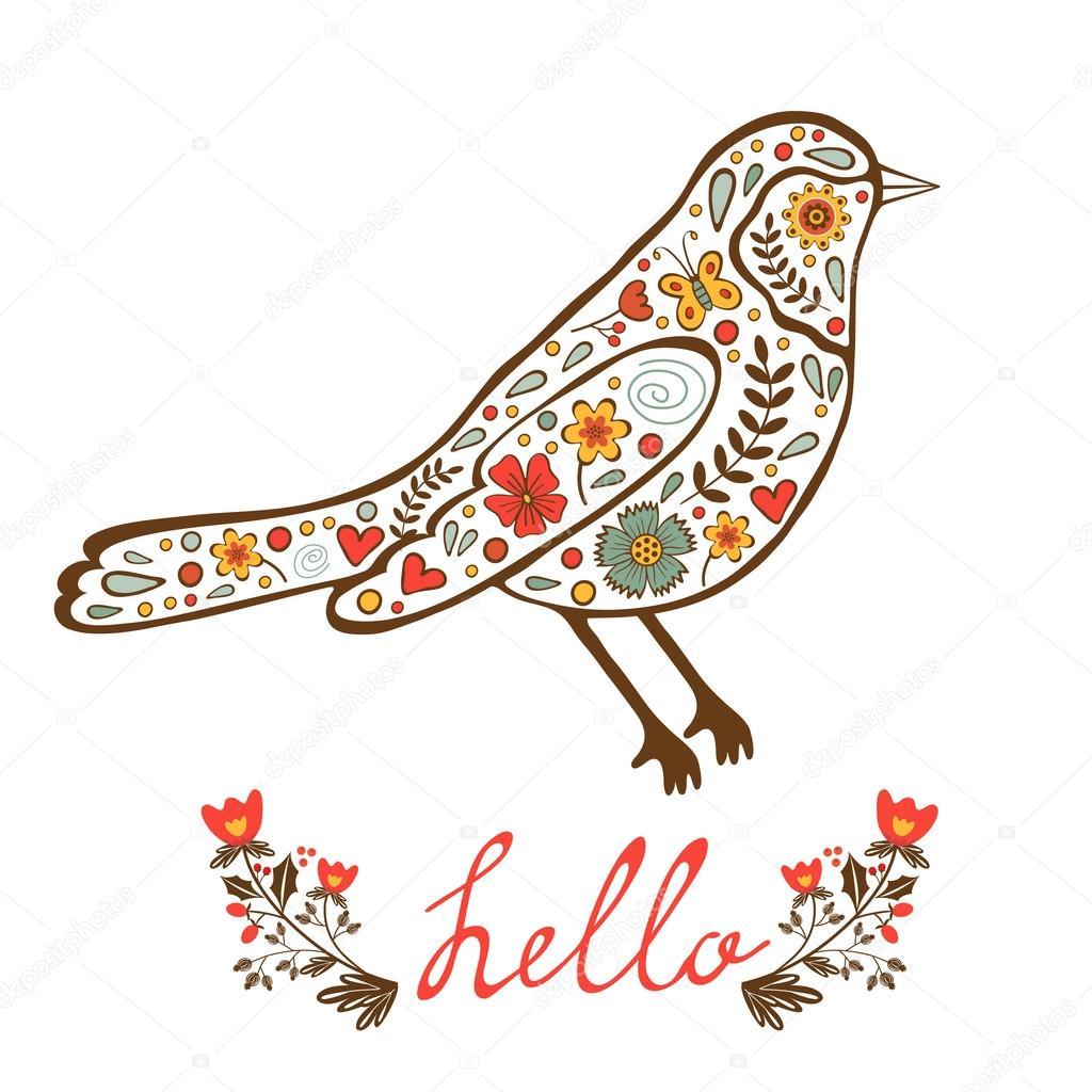 Concept hello card with floral decorative bird