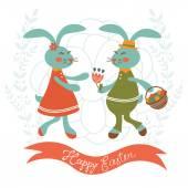 Osterkarte mit niedlichen Kaninchen-paar