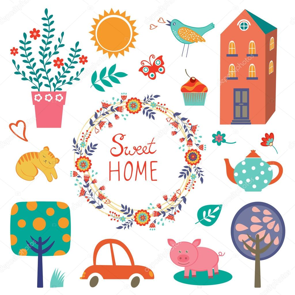 Home sweet home colorful set
