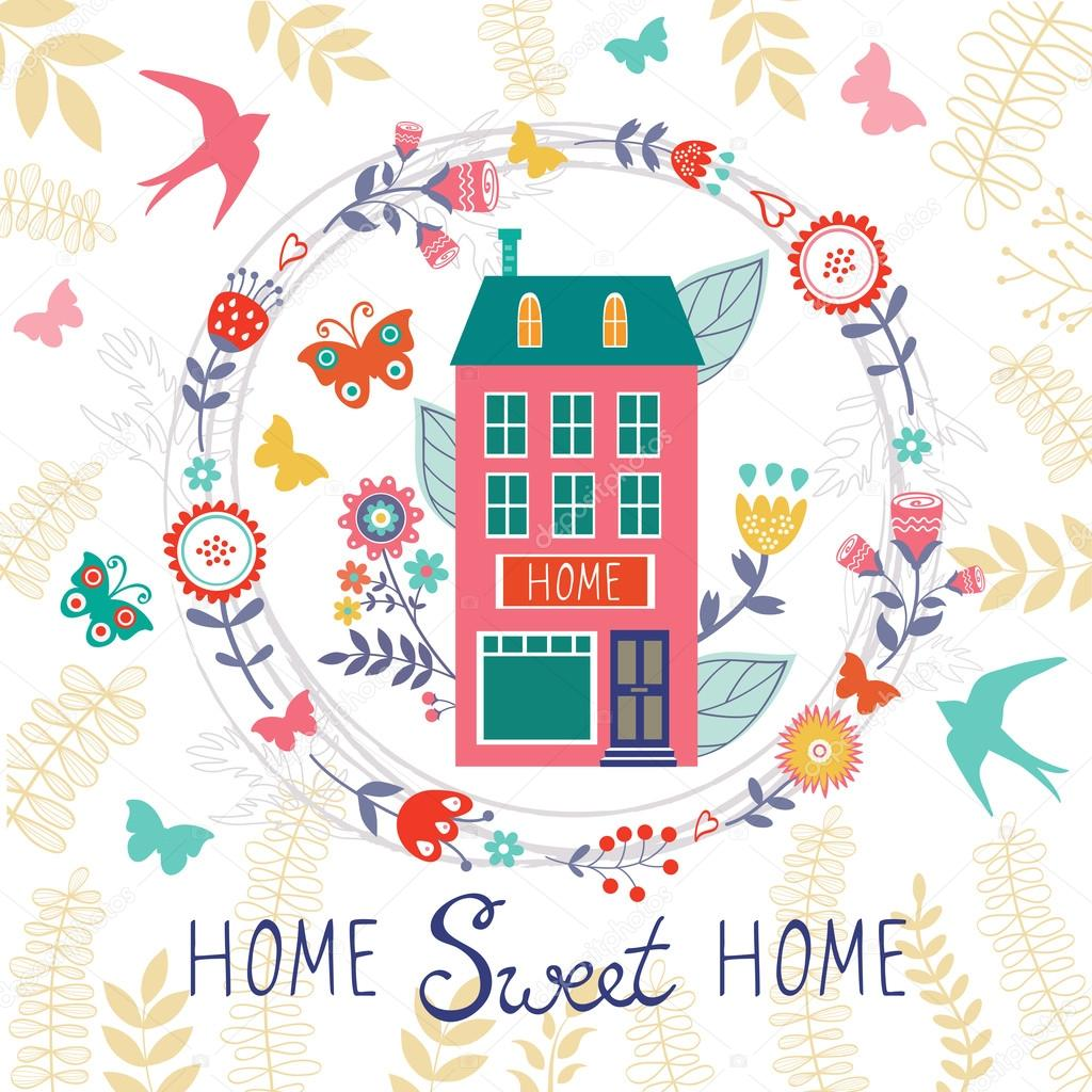 Home sweet home card with floral wreath