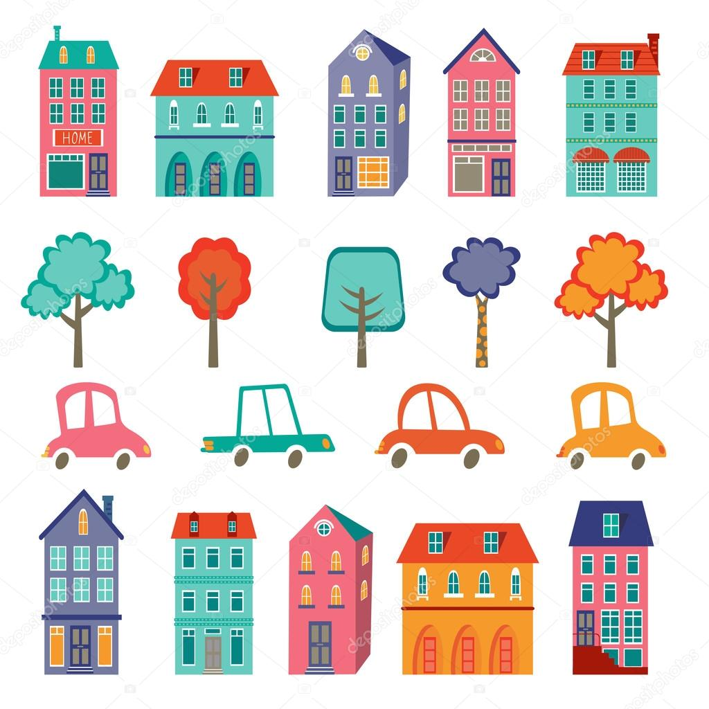 Colorful cute city collection - cars, houses and trees