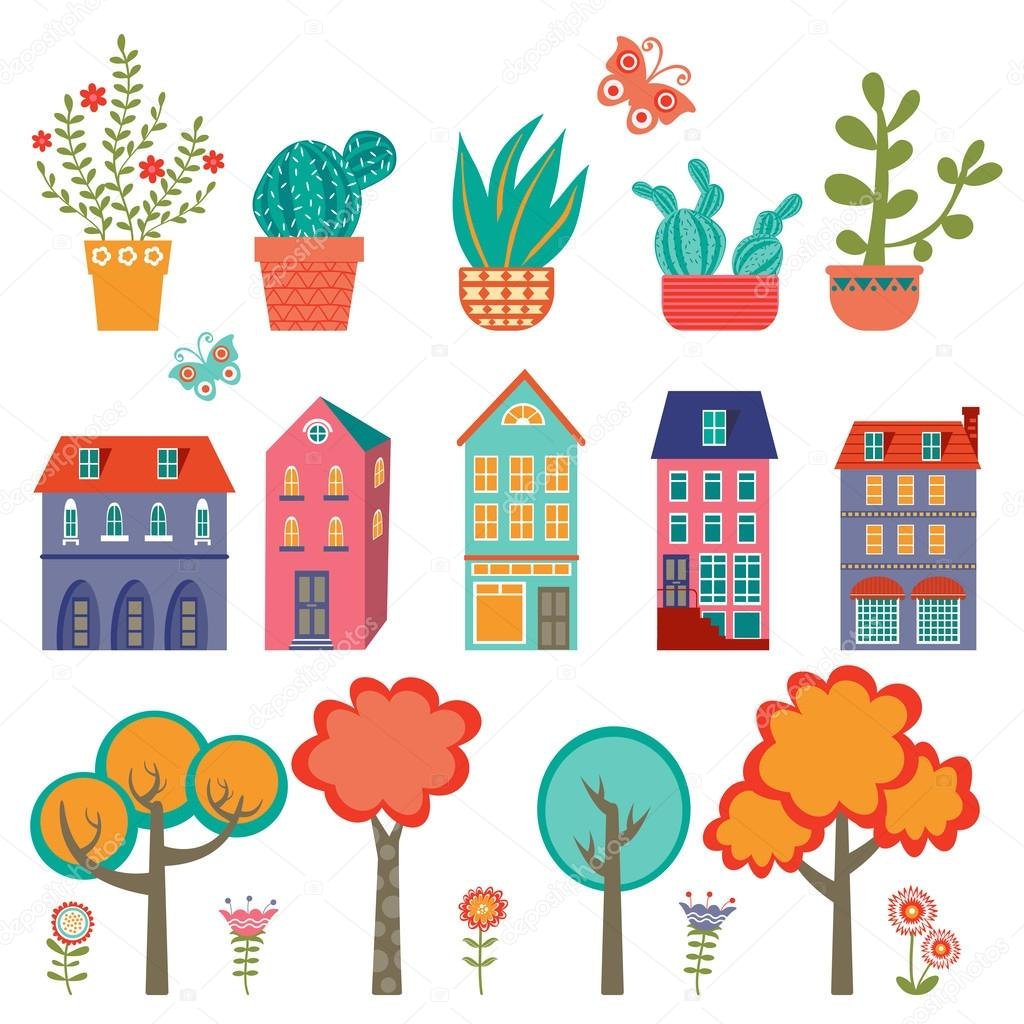 Colorful cute city collection - plants, houses and trees