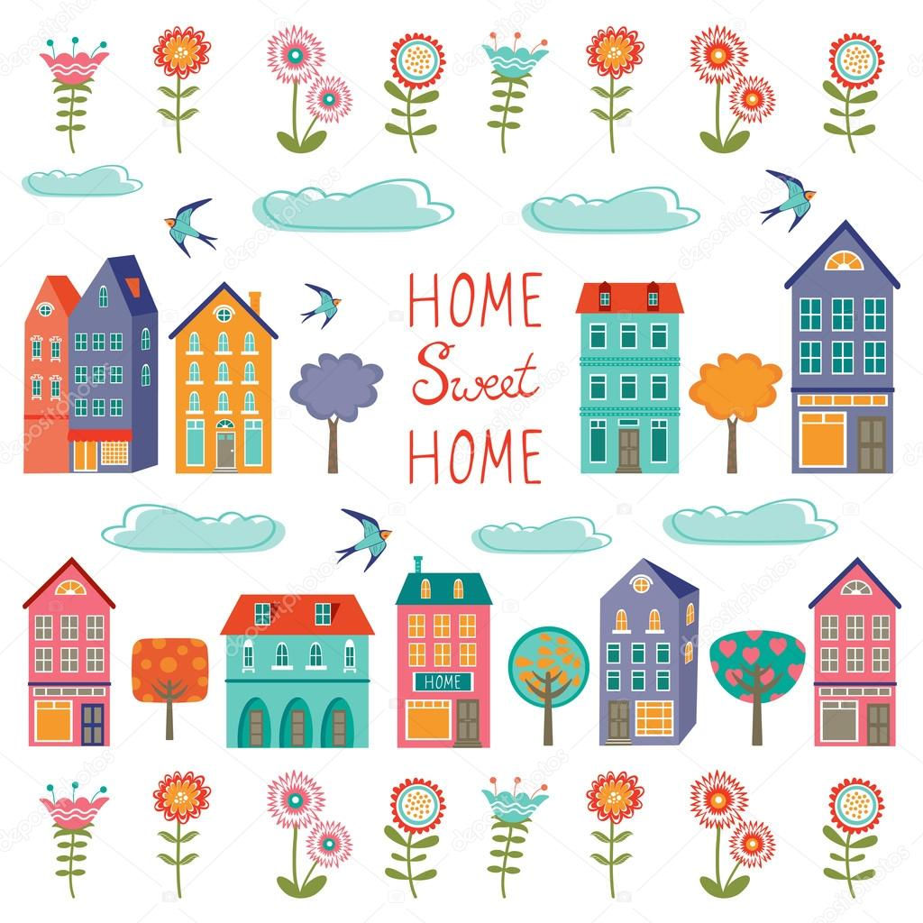 Colorful houses collection. Home sweet home set
