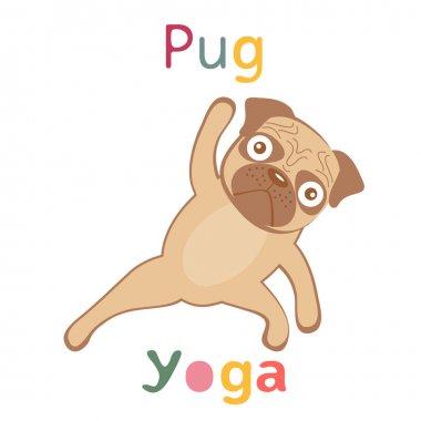 An illustration of pug doing yoga