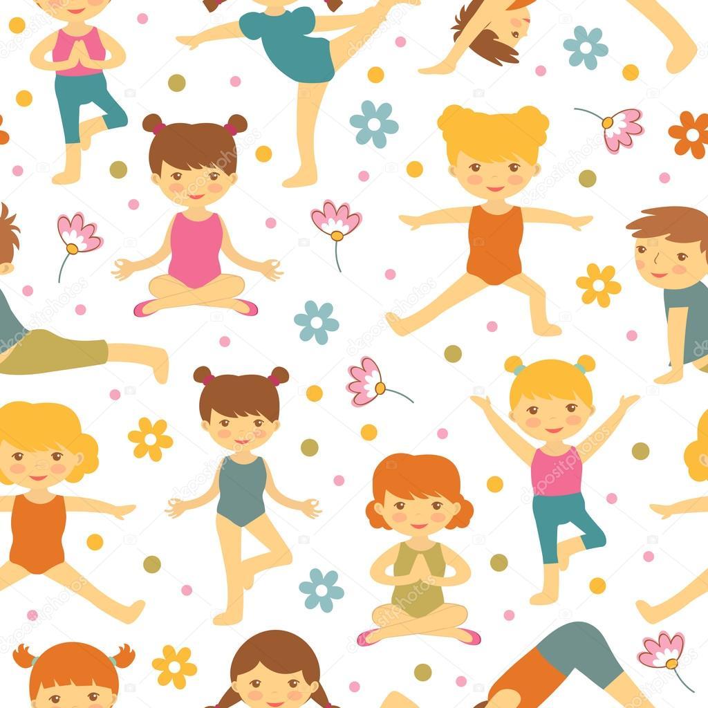 Cute yoga kids  seamless pattern