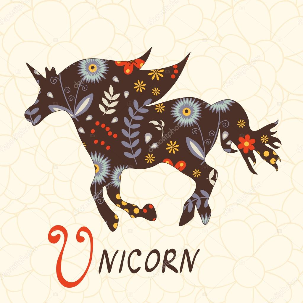 Beautiful floral unicorn horse