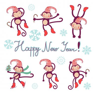 Happy new year card with monkeys - symbol of 2016 new year