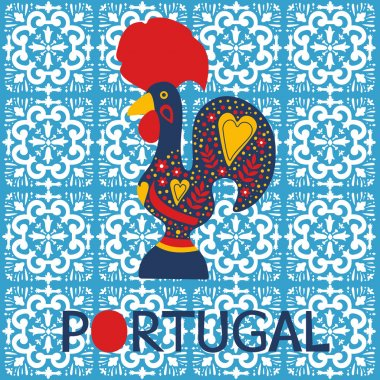 Illustration of decorated Barcelos rooster symbol of Portugal