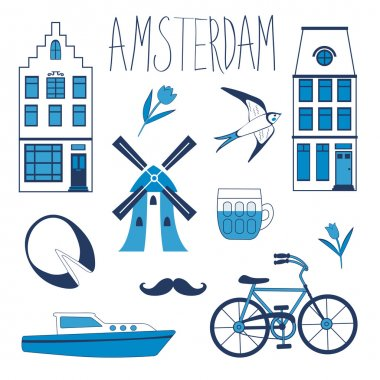 Colorful Amsterdam related icons set