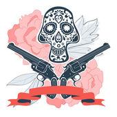 Fotografia Teschio disegnato a mano con pistole e fiori in stile vintage