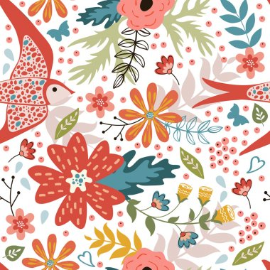 Colorful seamless pattern with birds and blooming flowers