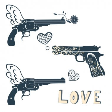 Love guns set. Vintage emblems with gun shooting a heart