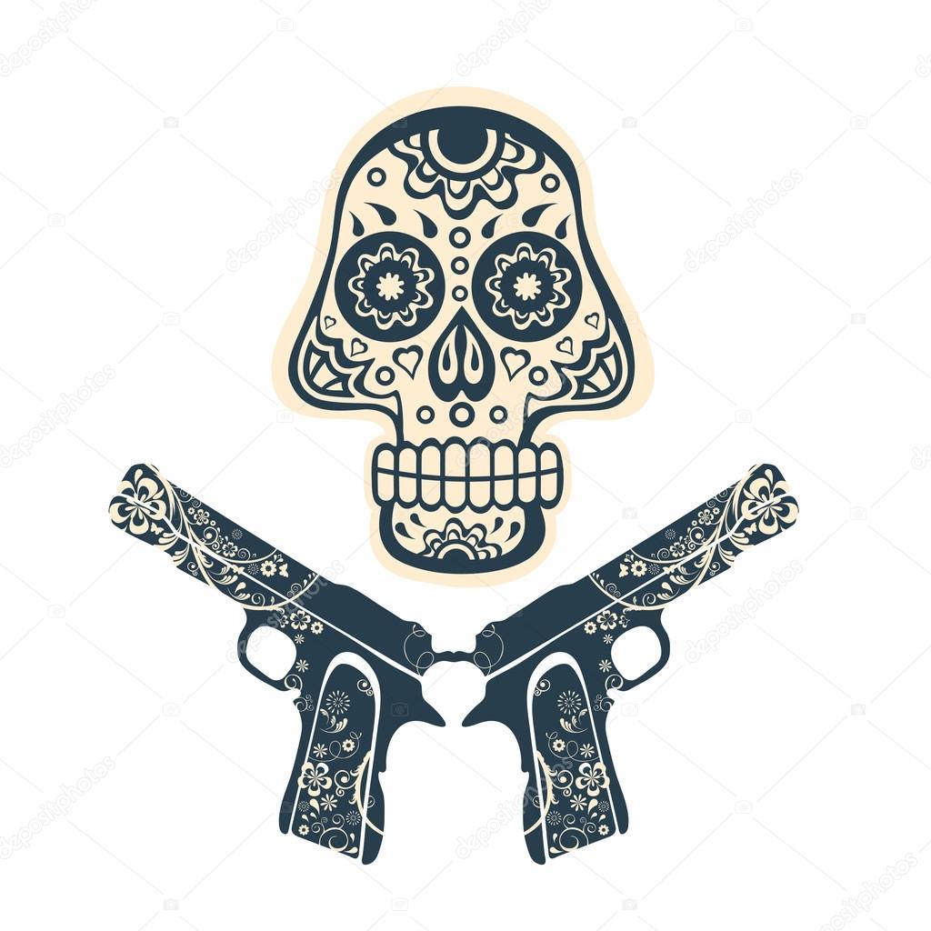 Imágenes Calaveras Con Pistolas Para Dibujar Mano Dibujada