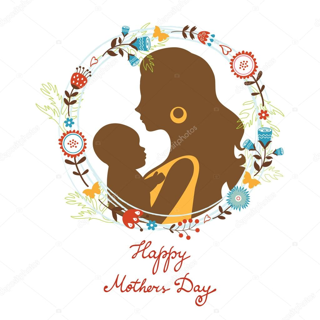 Beautiful mother with her baby silhouettes with floral wreath