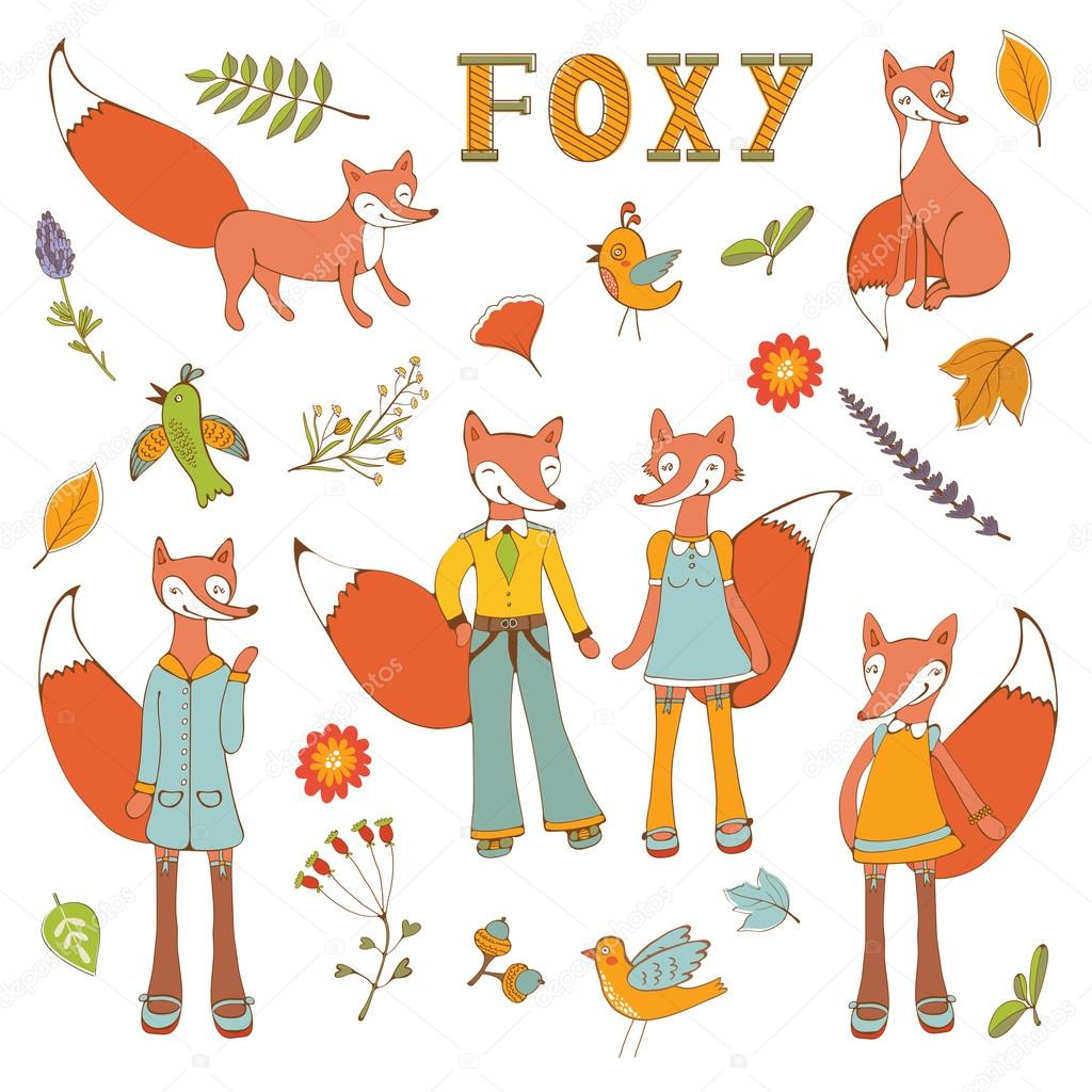 Cute colorful foxes characters set