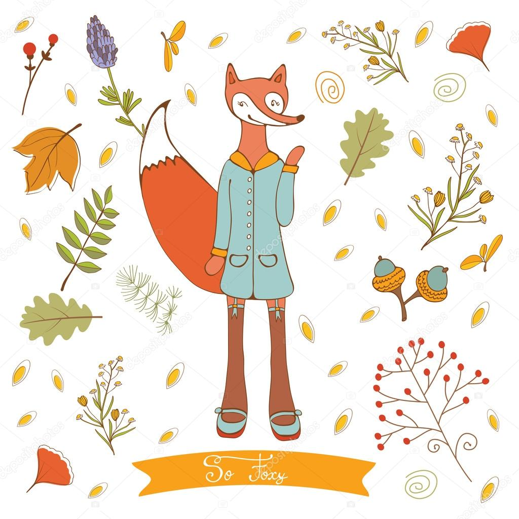 Hello autumn elegant card with cute fox character and autumn foliage