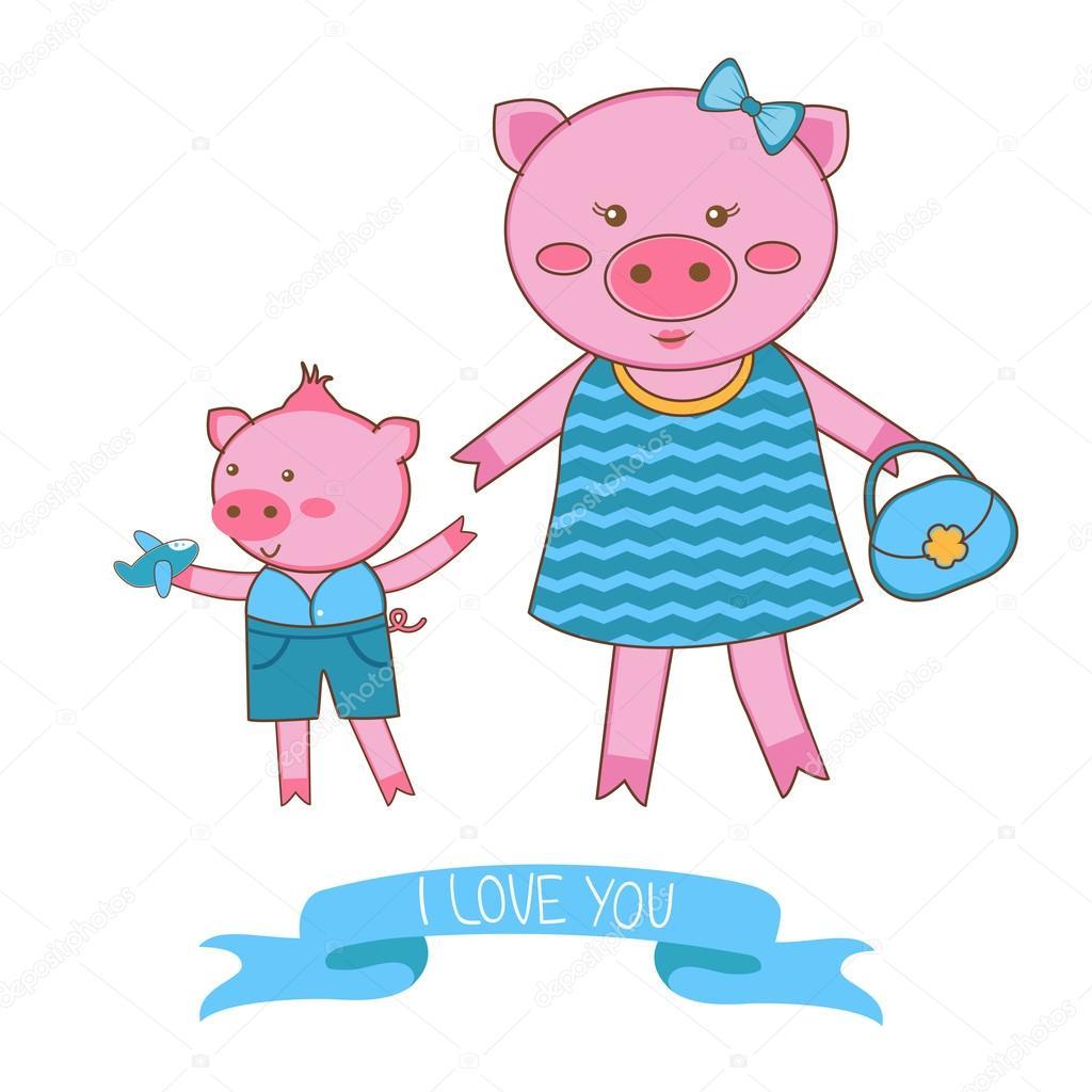 Ilustración de madre cerdo y cochinillo — Vector de stock © Japanez ...