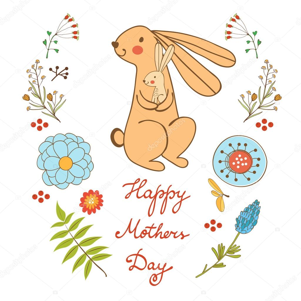 Happy Mothers day card with cute rabbits mom and kid