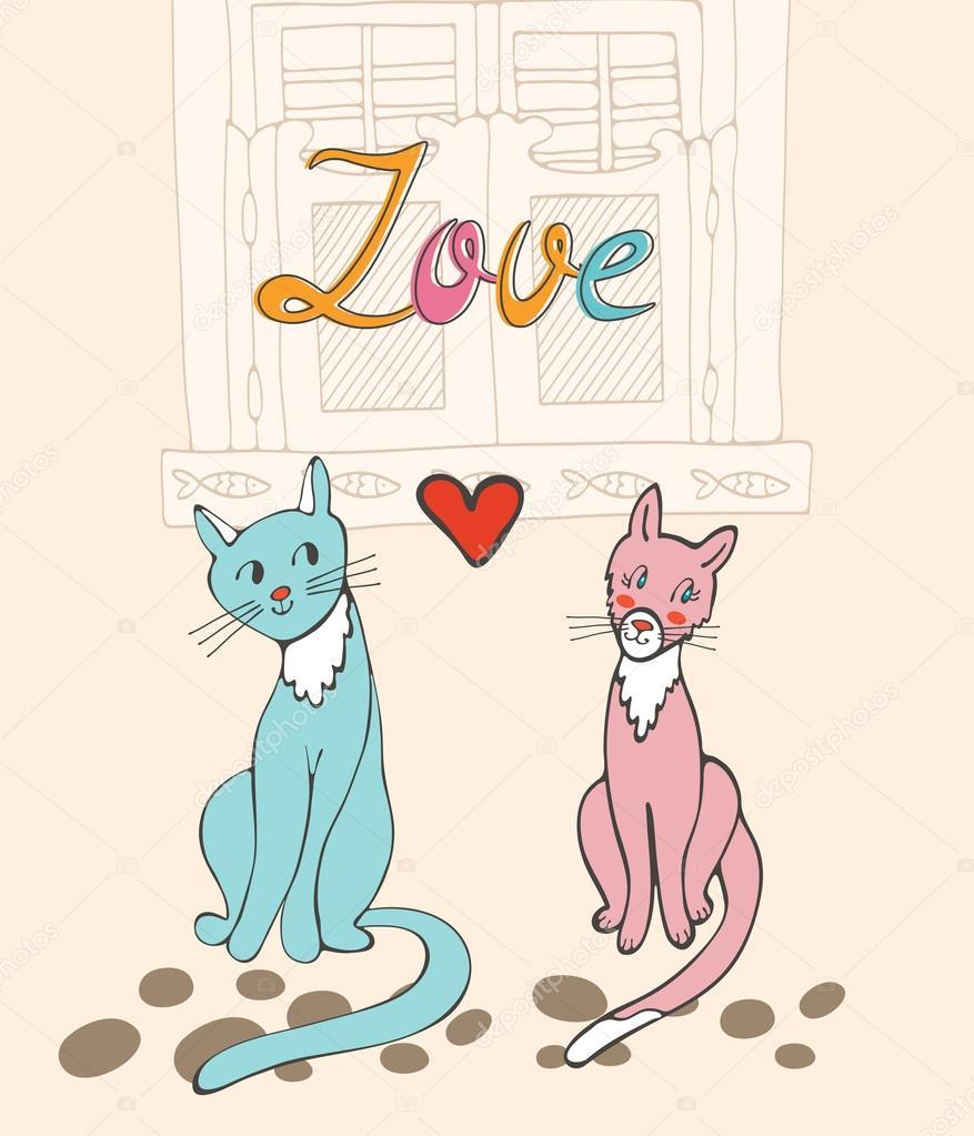 ロマンチックな猫のカップル — ストックベクター © japanez #84601672