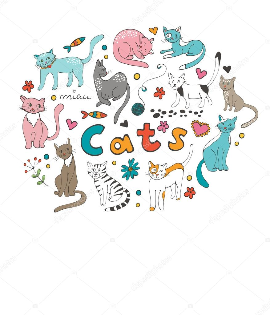 Cute hand drawn cats colorful set