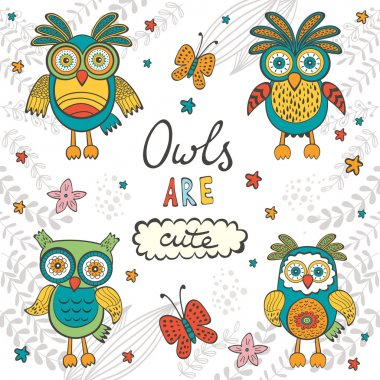 Owls are cute. Colorful card with owls characters and hand lettering