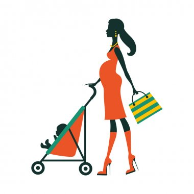 Chick fashion mom shopping with her baby in a stroller