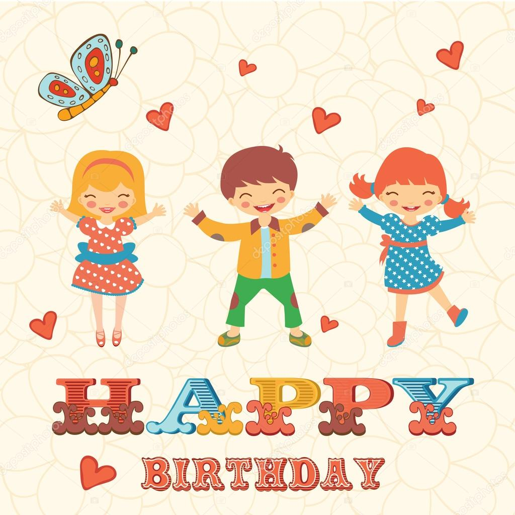 Stylish happy birthday card with cute kids jumping stock vector stylish happy birthday card with cute kids jumping stock vector bookmarktalkfo Choice Image