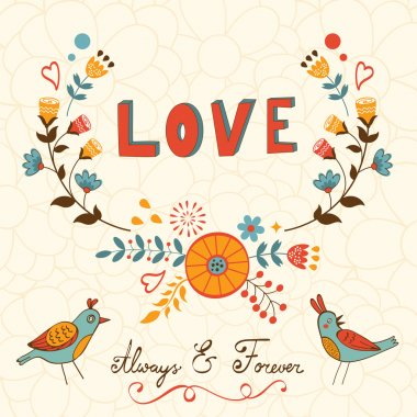 Elegant love card with birds
