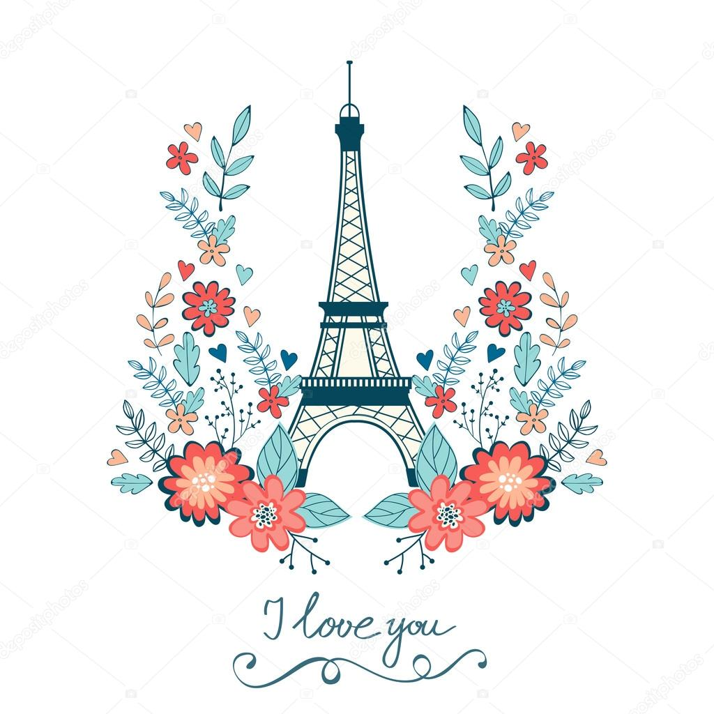 Concept love card with Eiffel tower and floral wreath. Vector illustration clipart vector