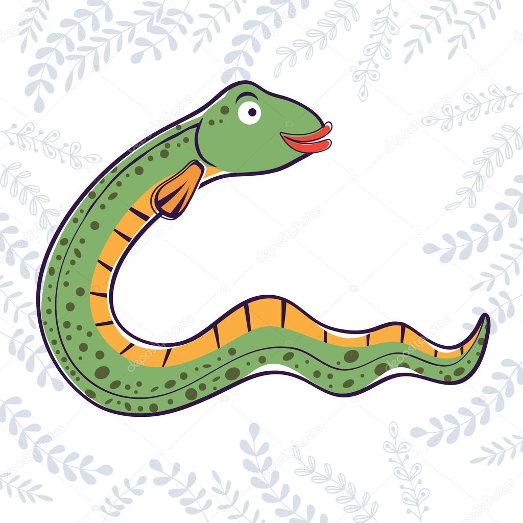 Illustration of E is for Eel