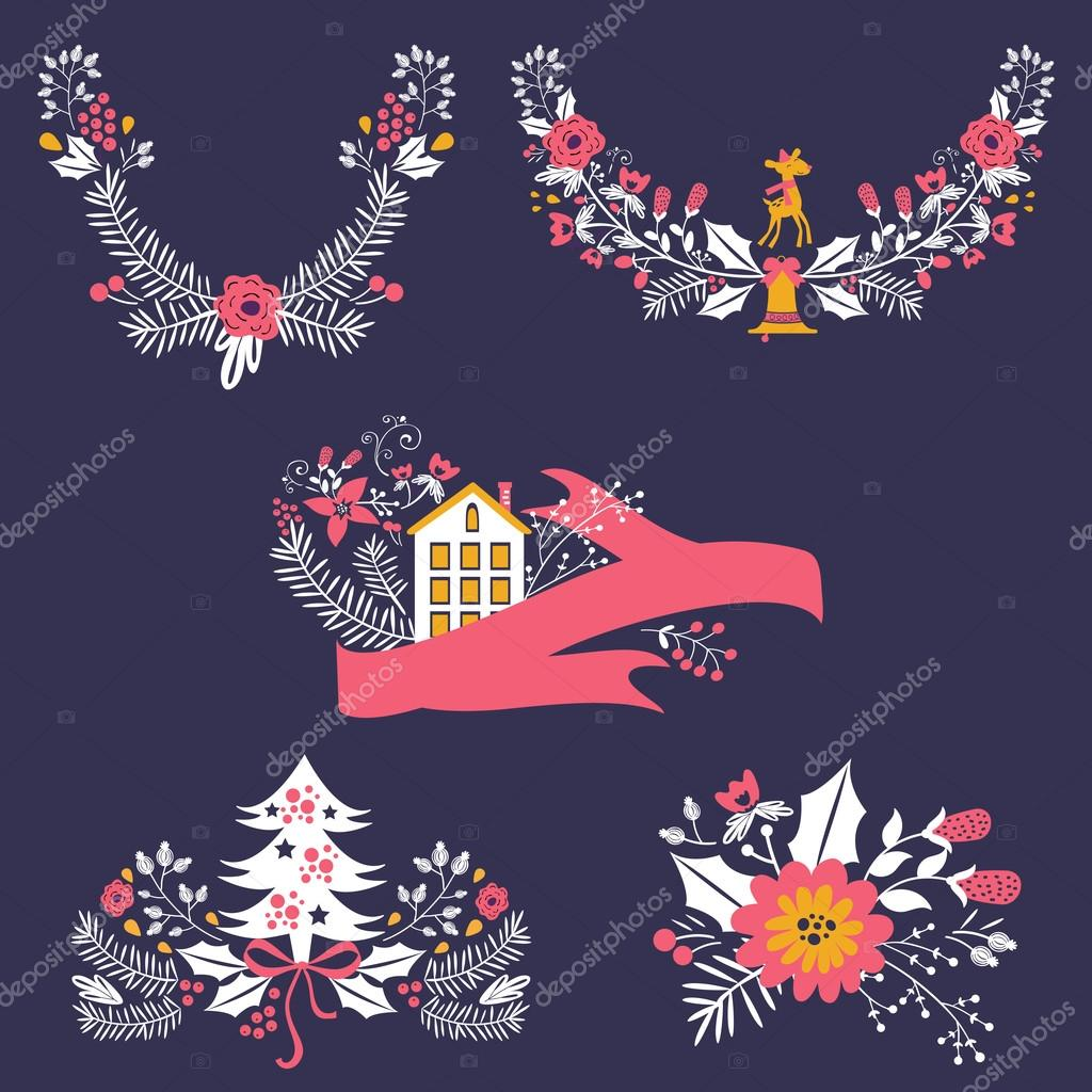 Colorful Christmas banners and laurels with flowers, birds, deers, hollies and leaves