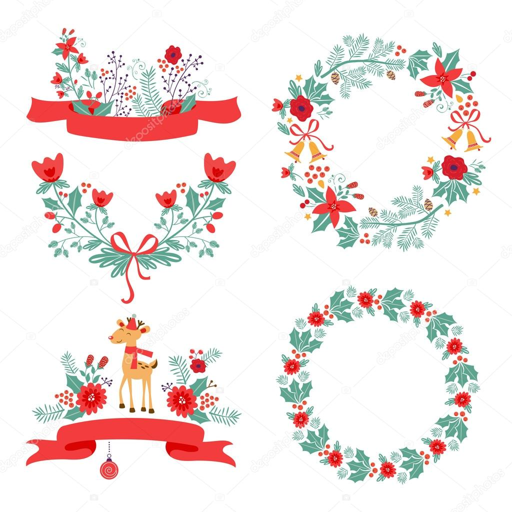 Colorful Christmas banners and laurels with flowers birds deer hollies and leaves