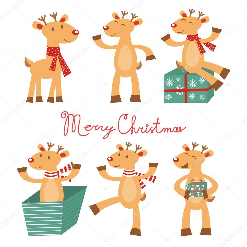 Foto Carine Di Natale.Merry E Cartolina Di Natale Con Le Renne Carine Vettoriali