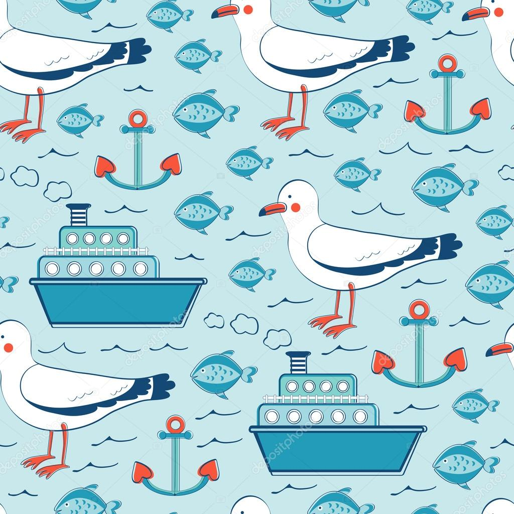 Colorful seamless sea pattern with seagulls anchors fishes and boats
