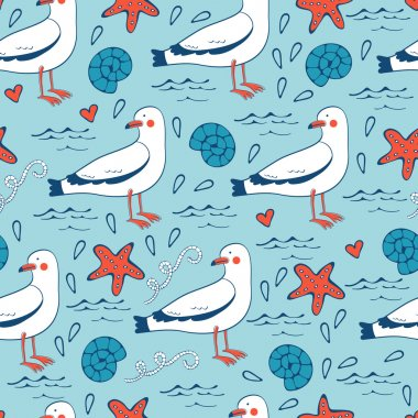 Colorful seamless sea pattern with seagulls shells and starfishes.
