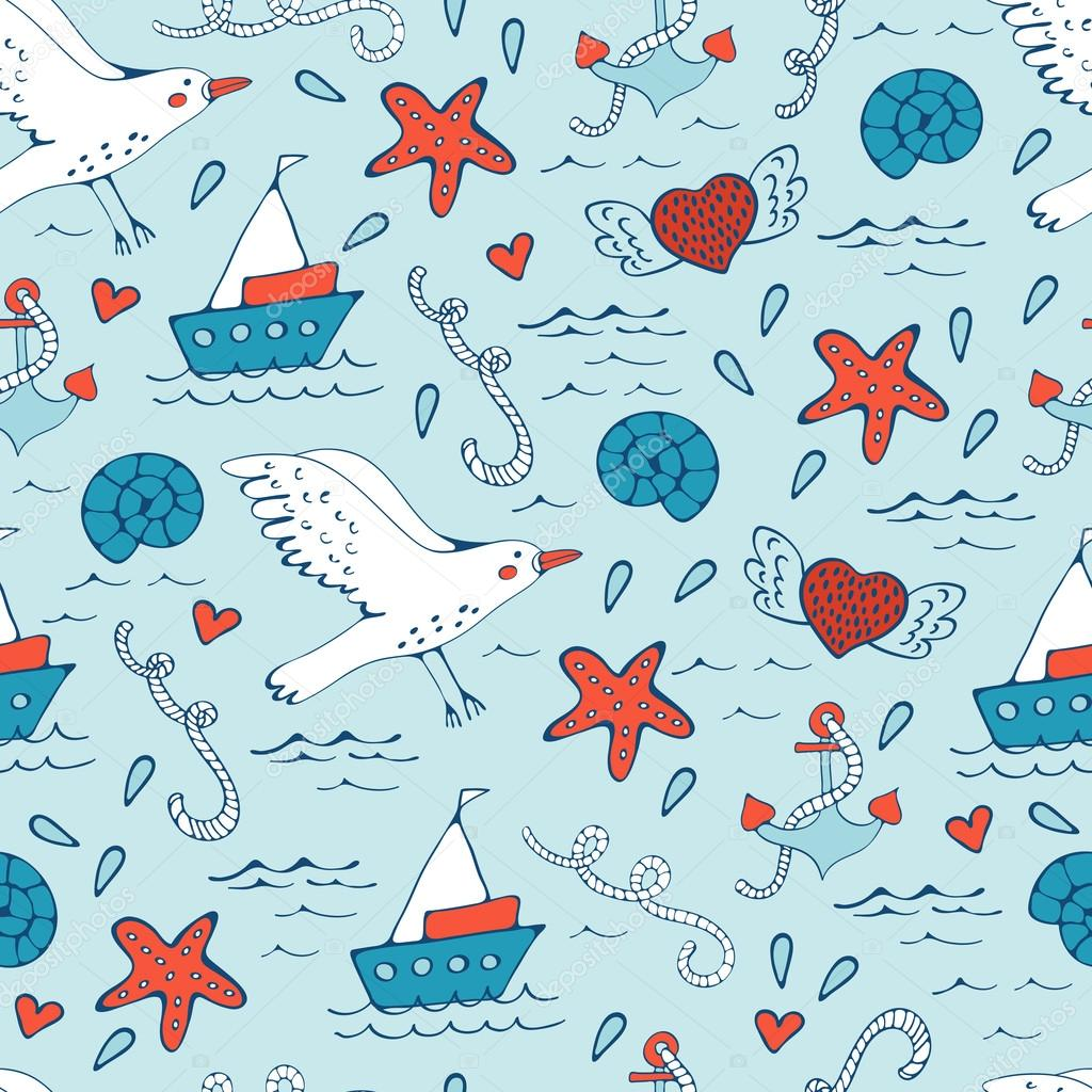 Colorful seamless sea pattern with seagulls shells fishes and boats