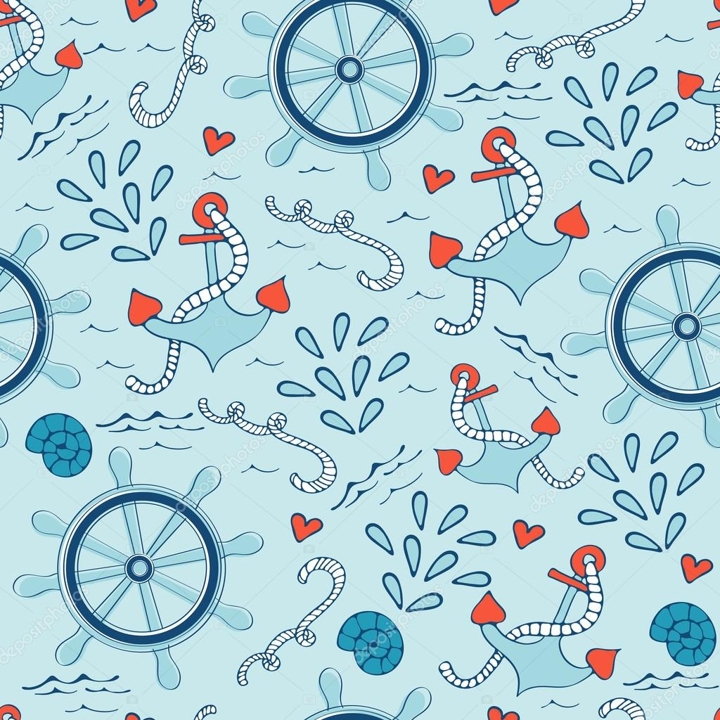 Colorful seamless sea pattern with steering wheels anchors and shells.